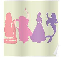 Princess Silhouettes - Pink and Purple Poster