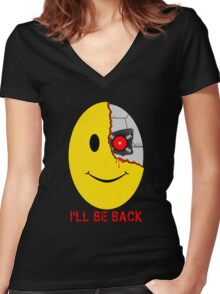 Terminator Smiley Face Women's Fitted V-Neck T-Shirt