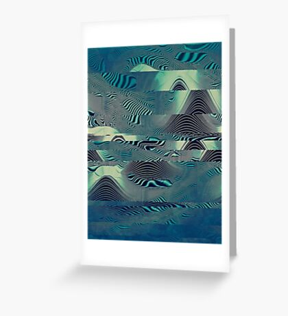Waveforms: green,electric Op Art. VividScene  Greeting Card
