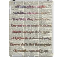 """All that is gold.."" Bilbo Baggins Quote Vintage Dictionary Book Page Art iPad Case/Skin"