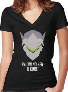ryujin no ken o kure! Women's Fitted V-Neck T-Shirt