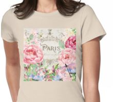 Paris Flower Market I roses, flowers, floral dragonflies Womens Fitted T-Shirt