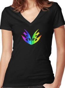 MLP - Cutie Mark Rainbow Special – Queen Chrysalis V3 Women's Fitted V-Neck T-Shirt