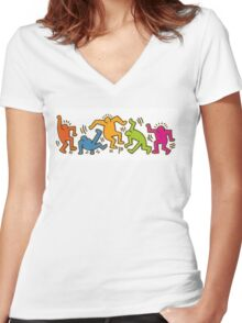 Keith Haring Dancing Figures art Women's Fitted V-Neck T-Shirt