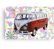 VW 21 window Mini Bus And Hippie Background Canvas Print