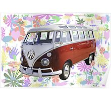 VW 21 window Mini Bus And Hippie Background Poster