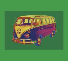 Classic VW 21 window Mini Bus Pop Art Image Kids Tee