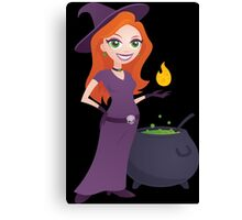 Pretty Witch with Cauldron Canvas Print