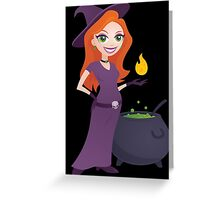 Pretty Witch with Cauldron Greeting Card