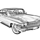 1960 Cadillac Luxury Car Illustration by KWJphotoart