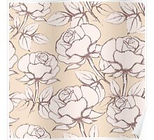 Rose Flowers Seamless Pattern in vintage style Poster