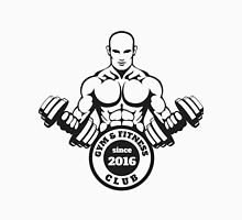Gym and Fitness emblem with training man Unisex T-Shirt