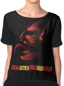 Devil with Stick Out Tongue Chiffon Top