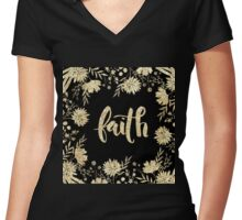 """faith"",typography,cool text,christian,Jesus,religion,faith,God Women's Fitted V-Neck T-Shirt"