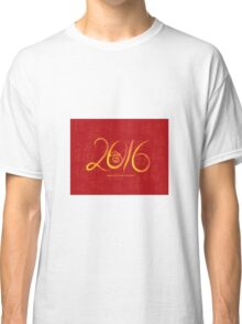 2016 Year of the Monkey Ink Brush on Red Background Classic T-Shirt