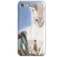 cat plays with gherkin iPhone Case/Skin