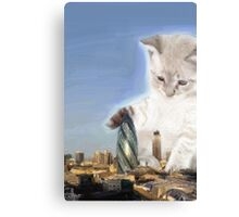 cat plays with gherkin Canvas Print