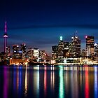 Toronto Skyline At Night From Polson St No 2 by Brian Carson