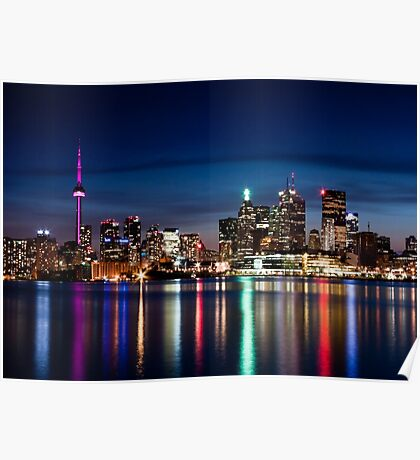 Toronto Skyline At Night From Polson St No 2 Poster