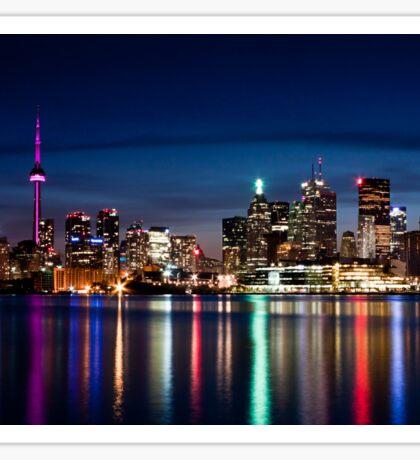 Toronto Skyline At Night From Polson St No 2 Sticker