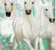 Grace- Divine spirit moves through 3 white galloping horses by Tracy Robbins