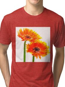 Beautiful,water color,hand painted,Sun flower,orange,green,yellow Tri-blend T-Shirt