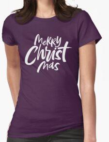 Modern Christian Christmas Lettering - Bold Merry Christ Mas - Religious - Black Womens Fitted T-Shirt