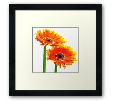 Beautiful,water color,hand painted,Sun flower,orange,green,yellow Framed Print