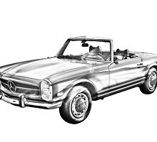 Mercedes Benz 280 SL Convertible Illustration by KWJphotoart