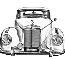 White Mercedes Benz 300 Luxury Car Drawing by KWJphotoart