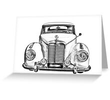 White Mercedes Benz 300 Luxury Car Drawing Greeting Card