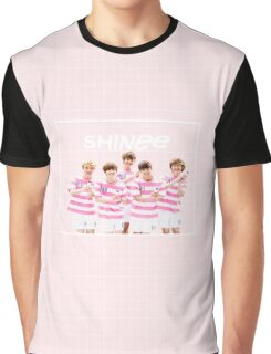 SHINee Pink Grid Graphic T-Shirt