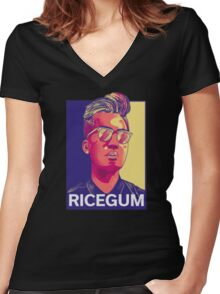 RiceGum Women's Fitted V-Neck T-Shirt