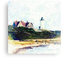 Nobska Lighthouse Cape Cod Illustrated Canvas Print