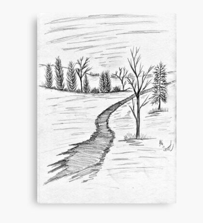 In The Woods Black & White Canvas Print