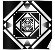 Black and white squares geometric design Poster