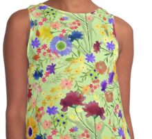 Watercolor Flower Garden on Light Green Background Contrast Tank