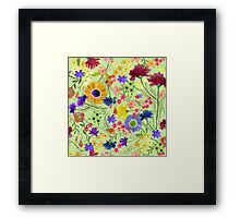 Watercolor Flower Garden on Light Green Background Framed Print