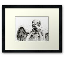 Doctor Who Weeping Angel - Don't Blink! Framed Print
