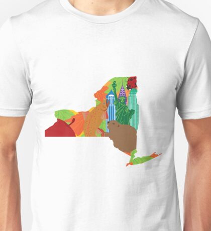 State of New York Official Map Symbols Illustration Unisex T-Shirt