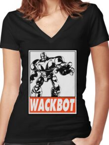 Sentinel Wackbot Obey Design Women's Fitted V-Neck T-Shirt