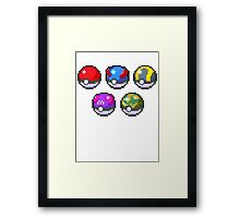 Frist Gen Pokeballs Framed Print