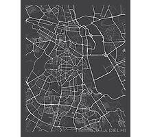 Delhi Map, India - Gray Photographic Print