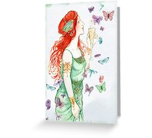 Beautiful Girl with butterflies Greeting Card