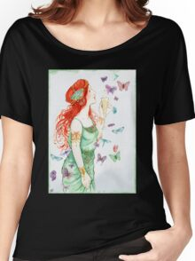 Beautiful Girl with butterflies Women's Relaxed Fit T-Shirt