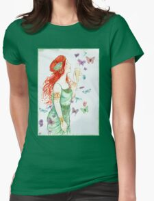 Beautiful Girl with butterflies Womens Fitted T-Shirt