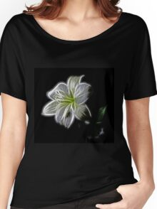 White shiny Flower Women's Relaxed Fit T-Shirt