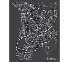 Mumbai Map, India - Gray Photographic Print