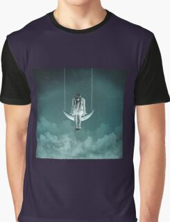 Girl settng on the Moon Graphic T-Shirt