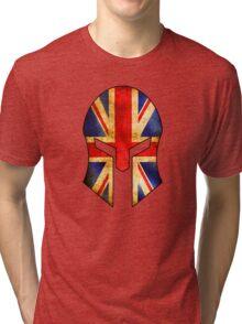 SPARTAN HELMET GREAT BRITAIN ENGLAND FLAG SPARTA SPARTACUS LONDON LIVERPOOL LEEDS SCOTLAND WALES Tri-blend T-Shirt